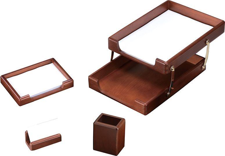 Delucci Настольный канцелярский набор 4 предмета цвет темно-коричневый орех 255645 подставка для бумажного полотенца regent