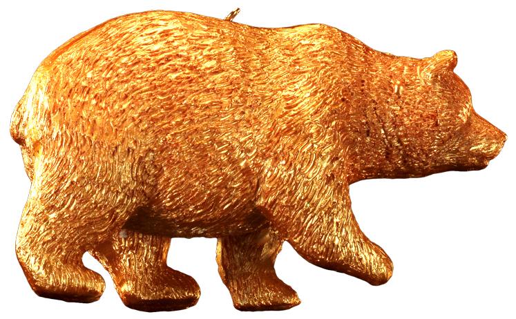 Украшение для интерьера новогоднее Erich Krause Золотой зверь. Медведь, высота 10 см