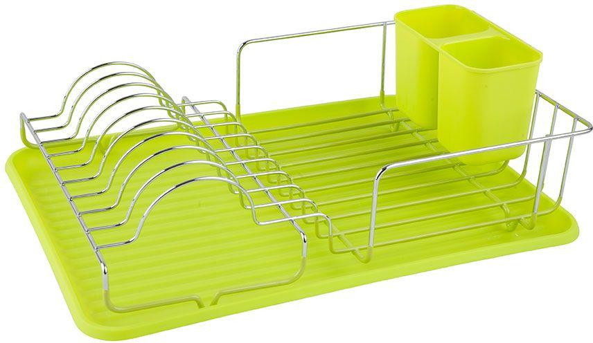 "Сушилка для посуды ""Lemax"", настольная, с поддоном, цвет: хром, зеленый, 44 х 32,5 х 15 см"