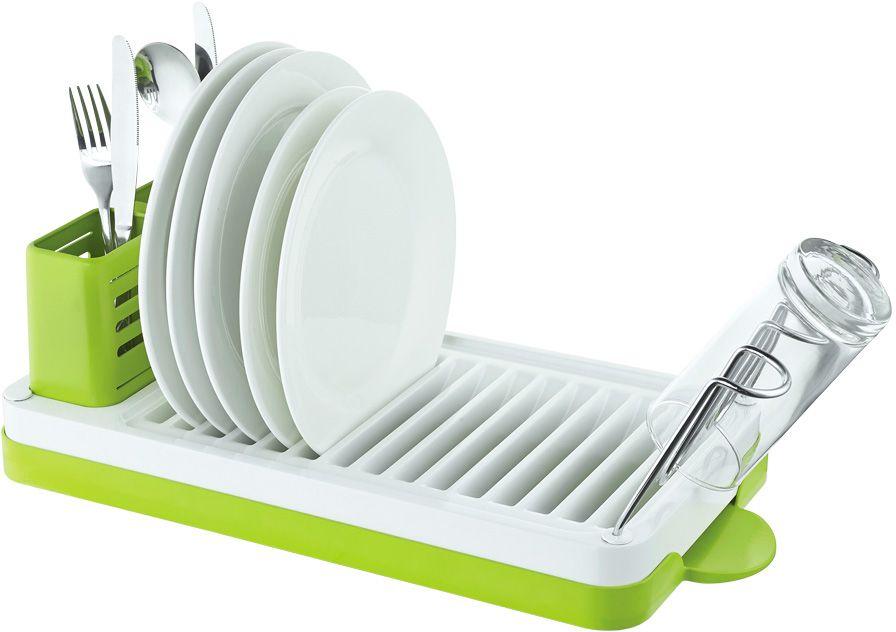 """Сушилка для посуды """"Lemax"""", настольная, цвет: хром, белый, зеленый, 46,9 х 22,5 х 16,5 см"""