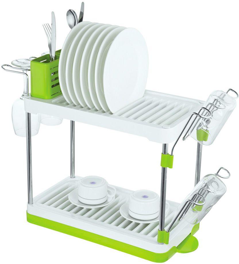"""Сушилка для посуды """"Lemax"""", 2-ярусная, настольная, цвет: хром, белый, зеленый, 46,9 х 22,5 х 41,8 см"""