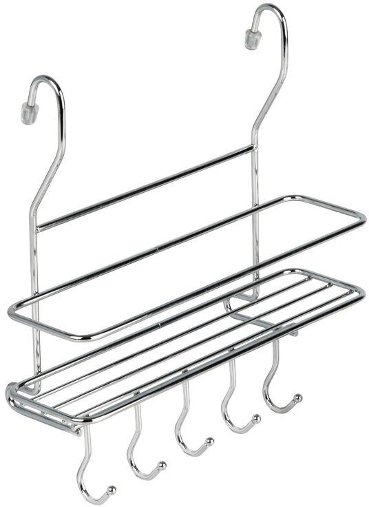 Полка кухонная Lemax, с крючками, на рейлинг, цвет: хром, 26,5 х 10 х 27 см комплект крючков малых несъемных 5шт lemax 60х30х20мм хром