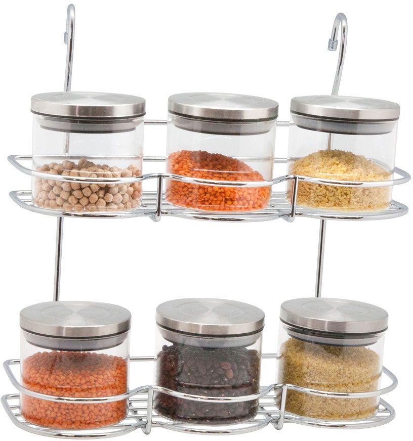"""Полка кухонная """"Lemax"""", 2-ярусная, с емкостями для специй, на рейлинг, цвет: хром, 7 предметов"""