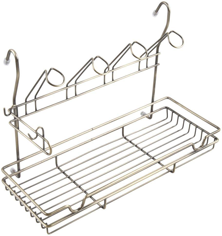 Полка кухонная Lemax, комбинированная, навесная, на рейлинг, цвет: бронза, 39 х 17,3 х 26,5 см полка навесная tescoma monti 45 х 19 х 27 см