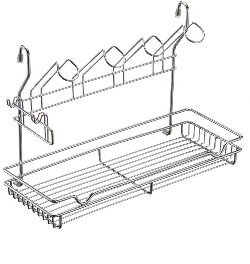 Полка кухонная Lemax, комбинированная, навесная, на рейлинг, цвет: хром, 39 х 17,3 х 26,5 см полка навесная tescoma monti 45 х 19 х 27 см