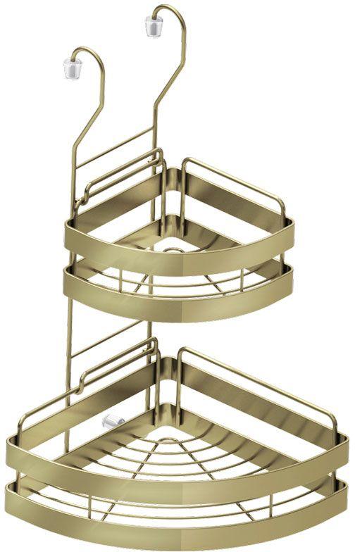 Полка кухонная Lemax, 2-ярусная, угловая, навесная, на рейлинг, цвет: бронза, 23 х 23 х 43,5 см бытовая химия ева