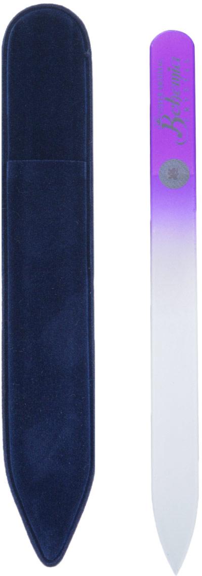 Bohemia Пилочка для ногтей, стеклянная, чехол из замши, цвет: фиолетовый. 1402 пилочка для ногтей leslie store 10 4sides 10pcs lot