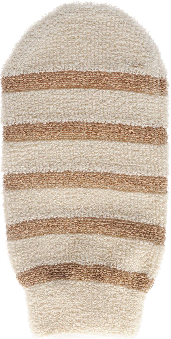 Мочалка-рукавица Riffi, с массажными полосками, цвет: бежевый мочалка рукавица riffi мягкая цвет бежевый