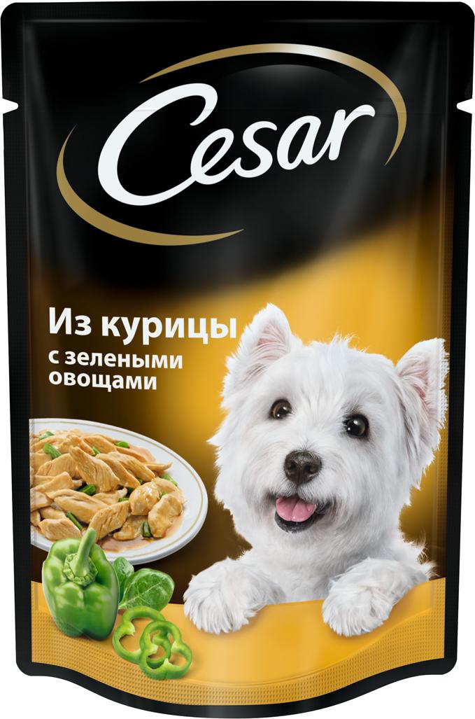 """Консервы """"Cesar"""", для взрослых собак, с курицей и зелеными овощами, 100 г"""