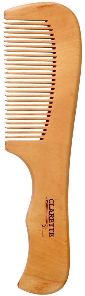 Clarette Расческа для волос деревянная с ручкой, цвет: бежевый clarette расческа комбинированная clarette