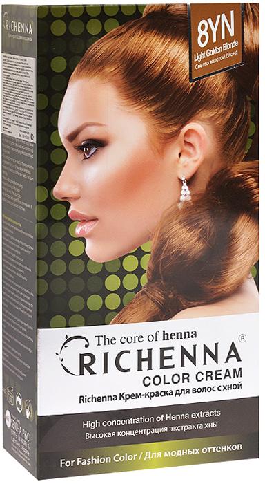 Richenna Крем-краска для волос, с хной, оттенок 8YN Светло-золотой блонд крем краска для волос richenna с хной 6mb красное дерево