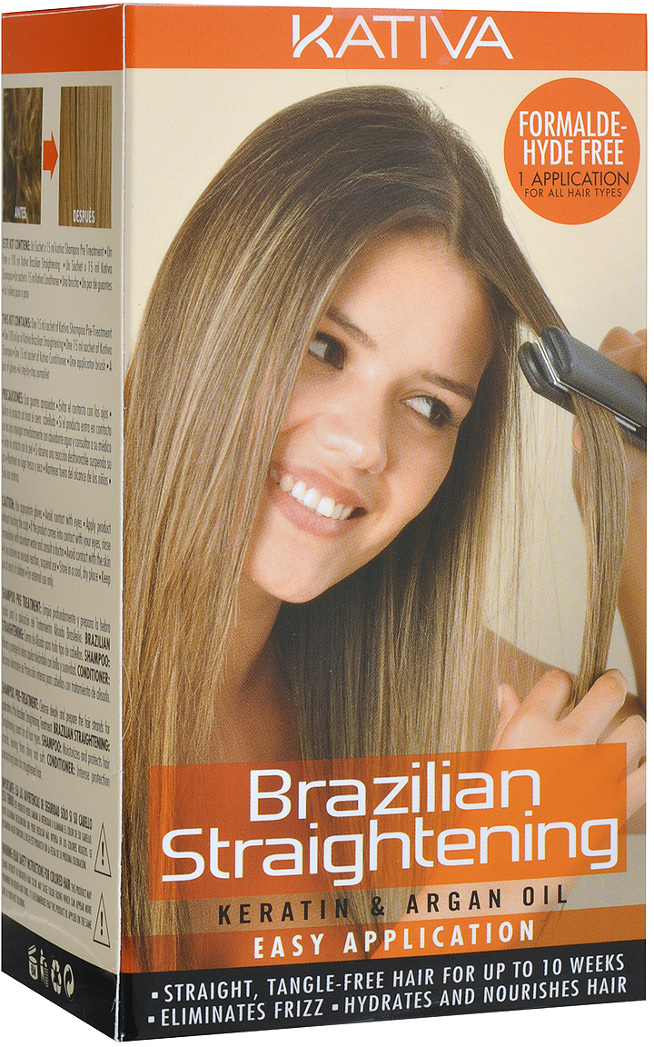 Kativa Набор для кератинового выпрямления и восстановления волос с маслом Арганы KERATINA blindagem средство для кератинового выпрямления волос шаг 3