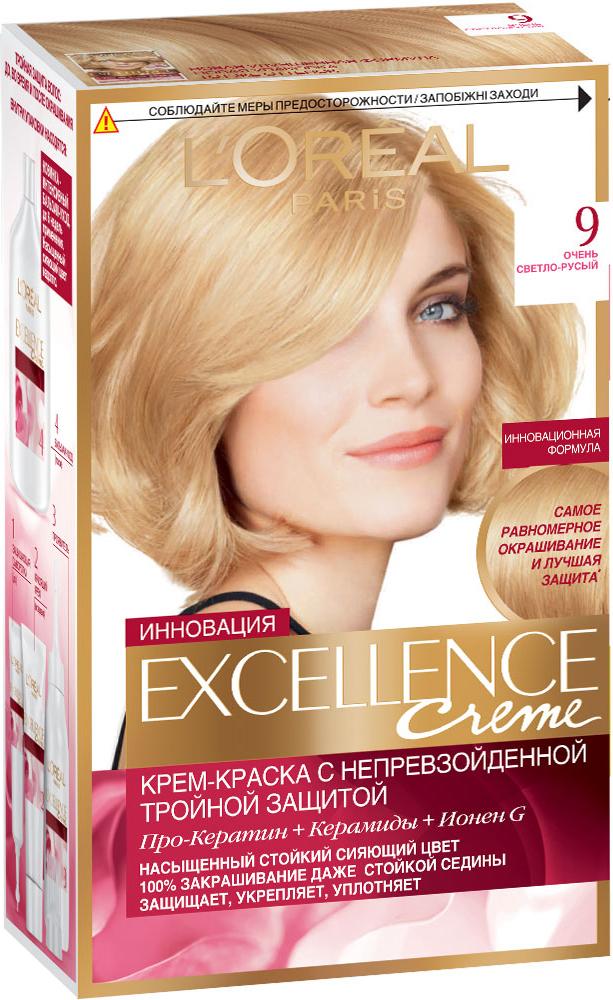 LOreal Paris Стойкая крем-краска для волос Excellence, оттенок 9, Очень светло-русый Уцененный товар (№25)