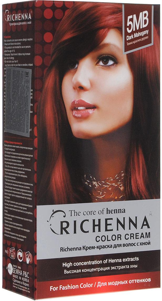 Richenna Крем-краска для волос, с хной, оттенок 5MB Темно-красное дерево крем краска для волос richenna с хной 6mb красное дерево