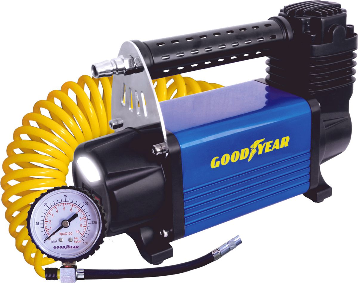 Компрессор автомобильный Goodyear GY-50L LED, с фонарем, питание от АКБ, съемный витой шланг, 50 л/мин