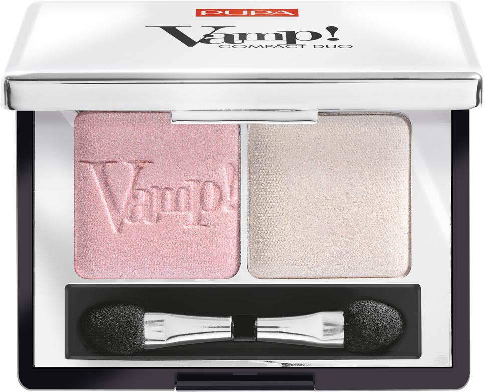 Pupa Компактные двойные тени VAMP! DUO тон 001 розовый жемчужный, 2,2 г цена