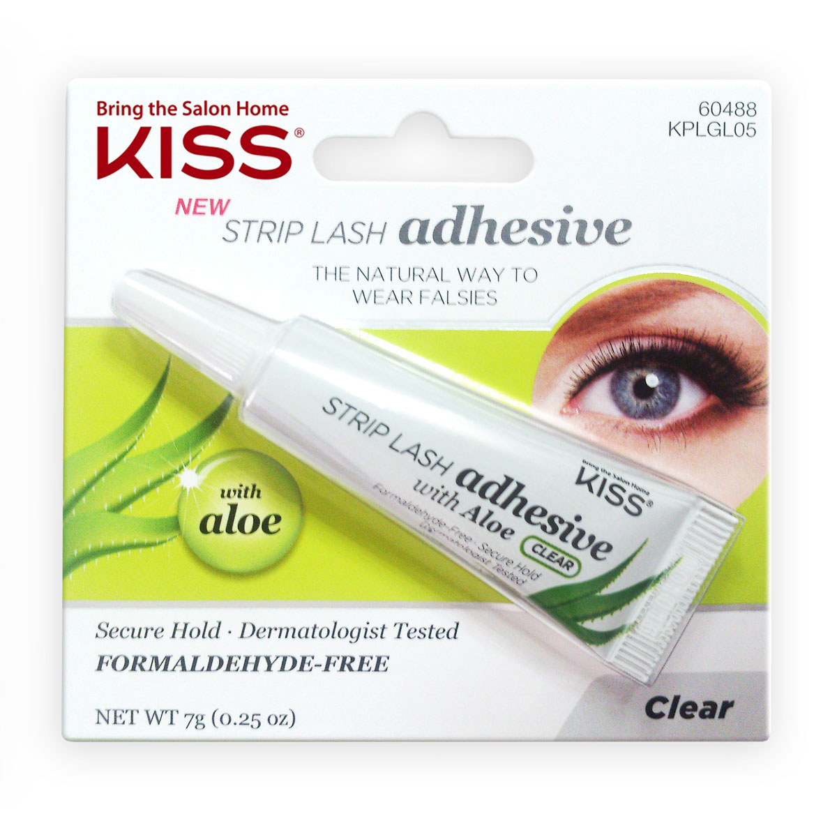 Kiss Клей с алое для накладных ресниц, Прозрачный Strip Lash Adhesive KPLGL05