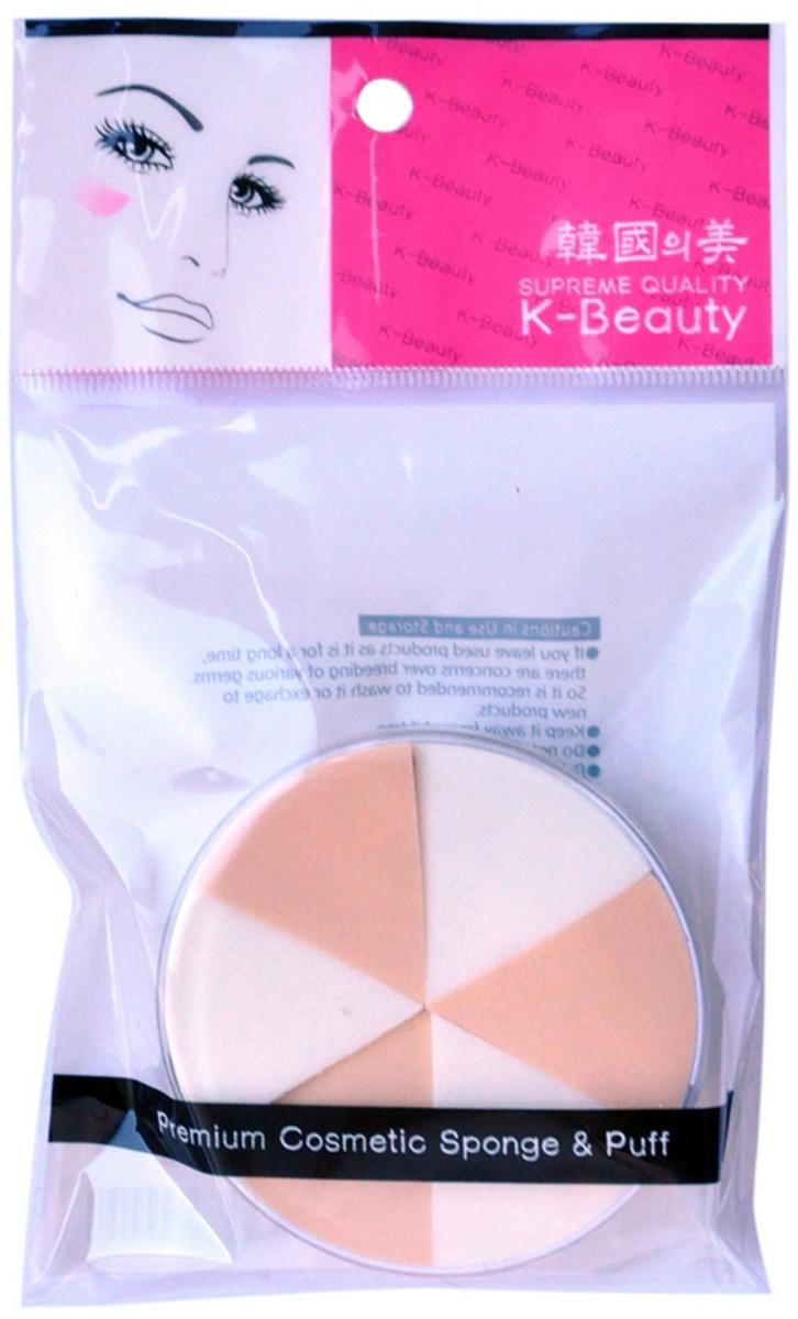 K-Beauty Спонж косметический в кейсе, двухцветный, 6 сегм.