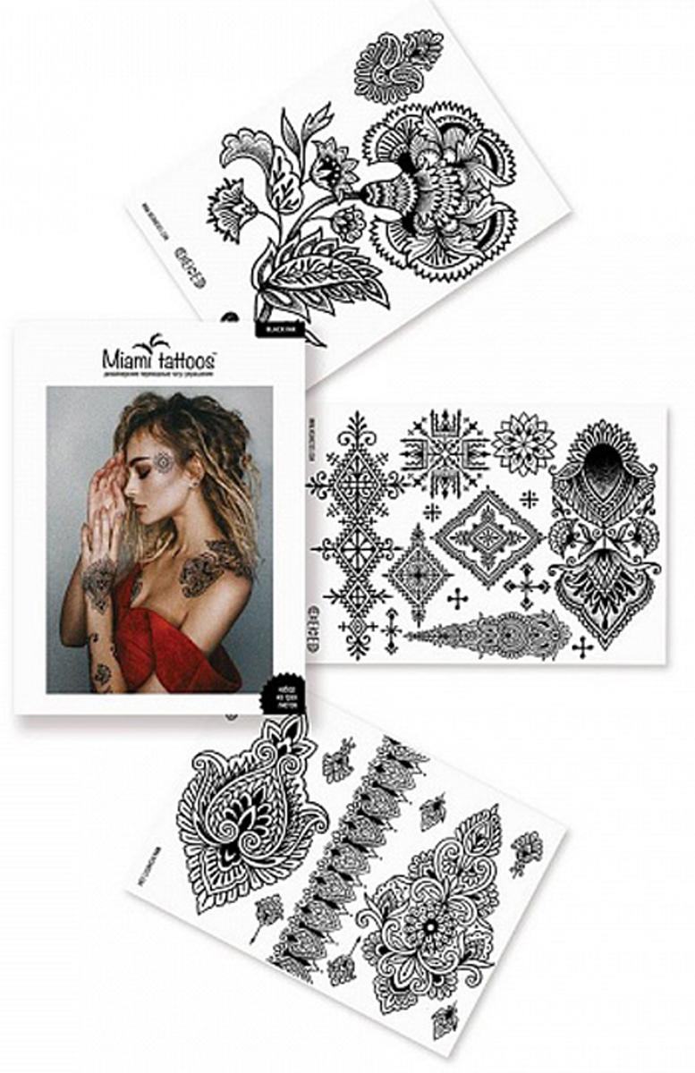 Miami Tattoos Переводные тату Black Ink, 3 листа 20см*15см fashion noble flower pattern temporary tattoos stickers
