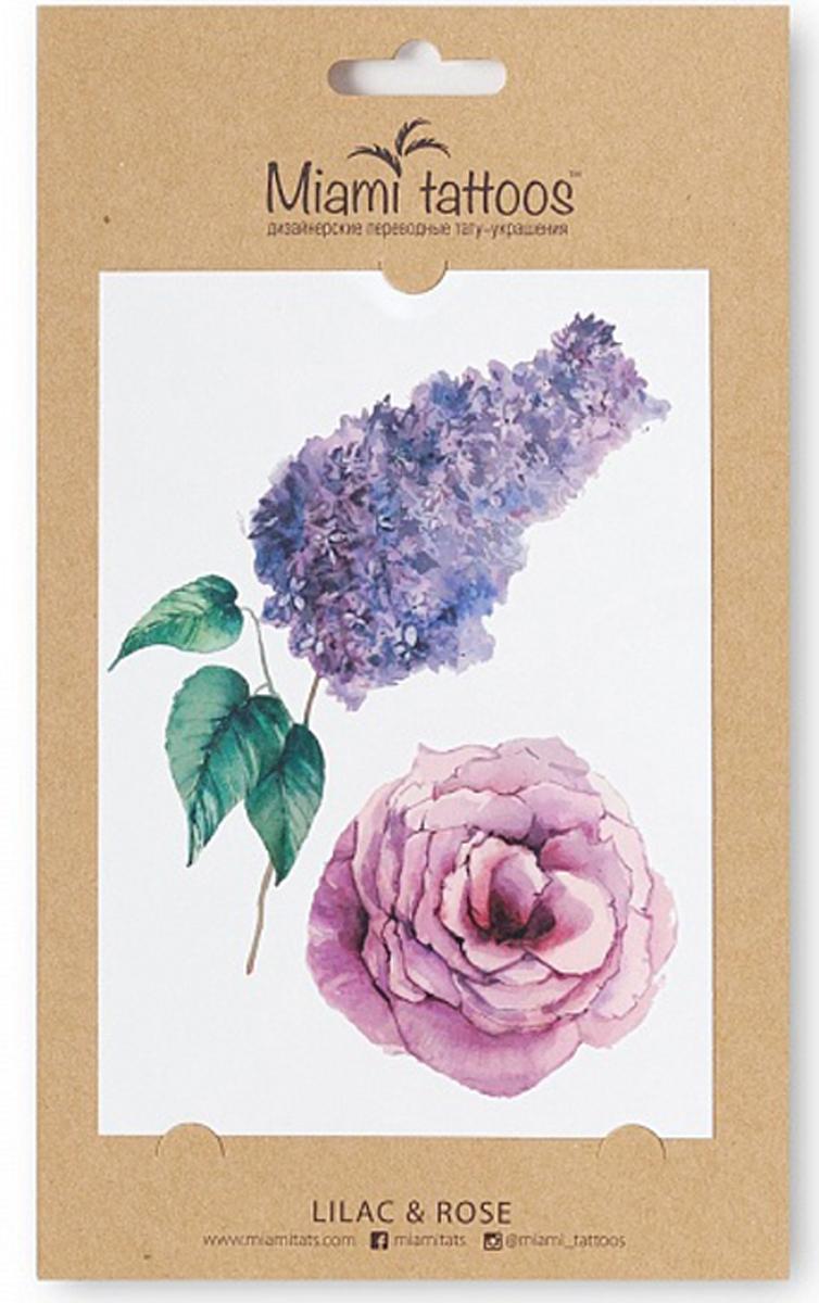 Miami Tattoos Акварельные переводные тату Lilac & Rose, 1 лист 10см*15см fashion noble flower pattern temporary tattoos stickers