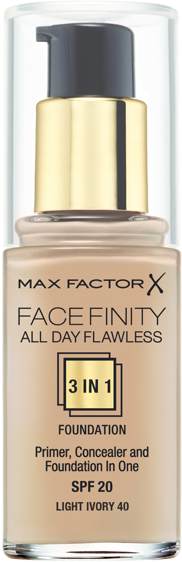 Max Factor Тональная основа 3в1, SPF 20 Facefinity All Day Flawless, тон №40 (light ivory), 30 мл тональная основа facefinity all day flawless 3in1 max factor лицо