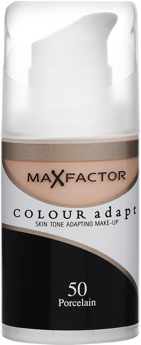 Max Factor Тональный крем Colour Adapt, тон №50 Porcelain (Светло-бежевый), 34 мл max factor colour adapt blushing beige крем тональный 55 тон