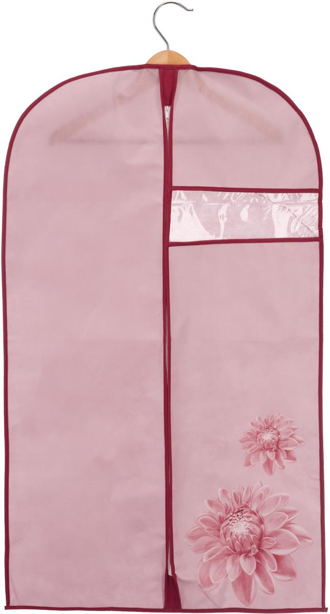 Чехол для одежды Handy Home Хризантема, цвет: бордовый, розовый, 60 х 100 см чехол для одежды handy home лен цвет бежевый 60 х 135 см