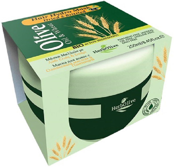 HerbOlive Маска для волос с пшеницей для сухих волос увлажнение и питание 250 мл косметика маска