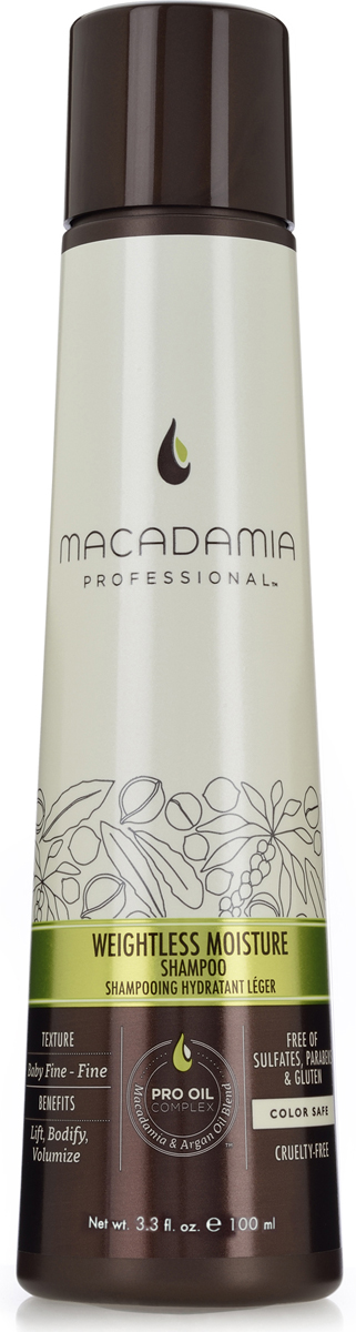 Macadamia Professional Шампунь увлажняющий для тонких волос,100 мл macadamia macadamia шампунь восстанавливающий с маслом арганы и макадамии 1000 мл