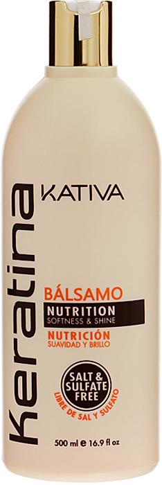 купить Kativa Укрепляющий бальзам-кондиционер с кератином для всех типов волос KERATINA, 500 мл по цене 1190 рублей