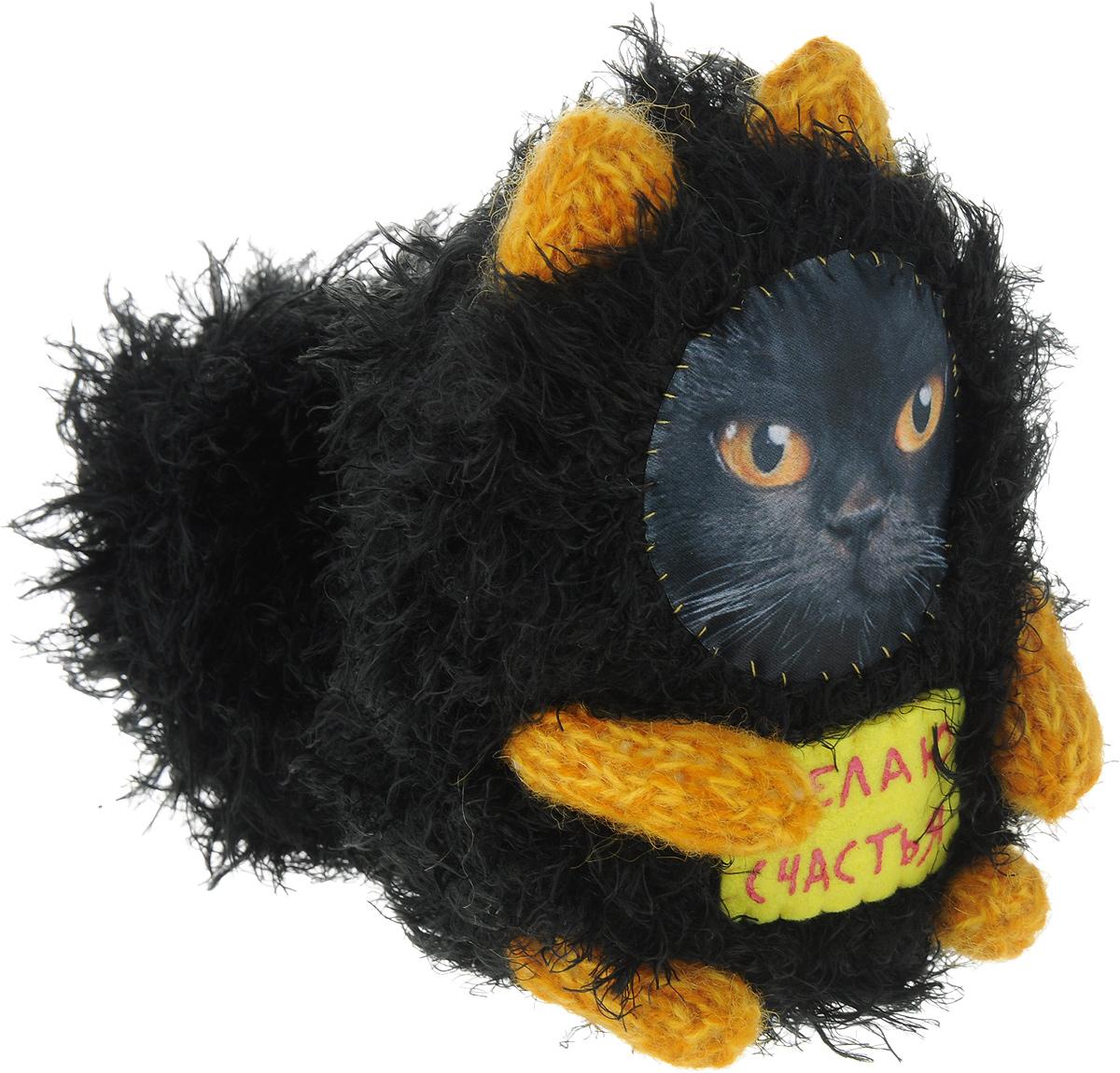 """Мягкая игрушка Бюро находок """"Котик. Желаю счастья"""", цвет: черный, оранжевый, 16 см"""