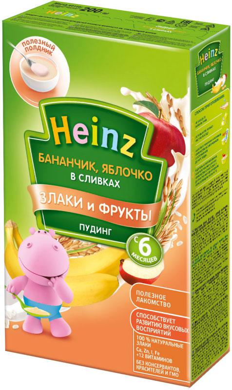 Heinz пудинг бананчик с яблочком в сливках, с 6 месяцев, 200 г пюре heinz пудинг молочный быстрорастворимый фруктовое ассорти в сливках 6 месяцев 15 шт по 200 г