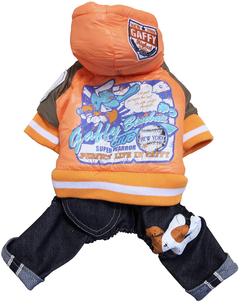 Костюм для собак Gaffy Pet Baseball, унисекс, цвет: оранжевый, синий. Размер S костюм для собак gaffy pet baseball унисекс цвет оранжевый синий размер s
