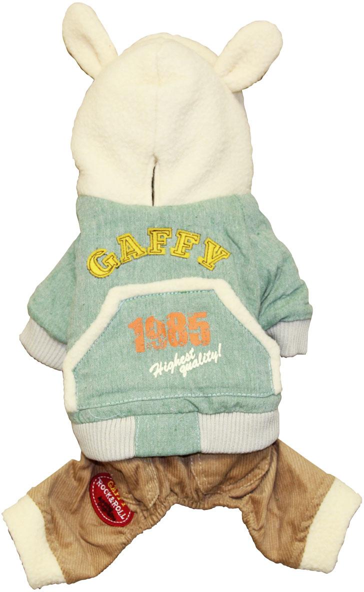 """Комбинезон для собак Gaffy Pet """"Sweet Bunny"""", унисекс, цвет: зеленый, бежевый. Размер XS"""