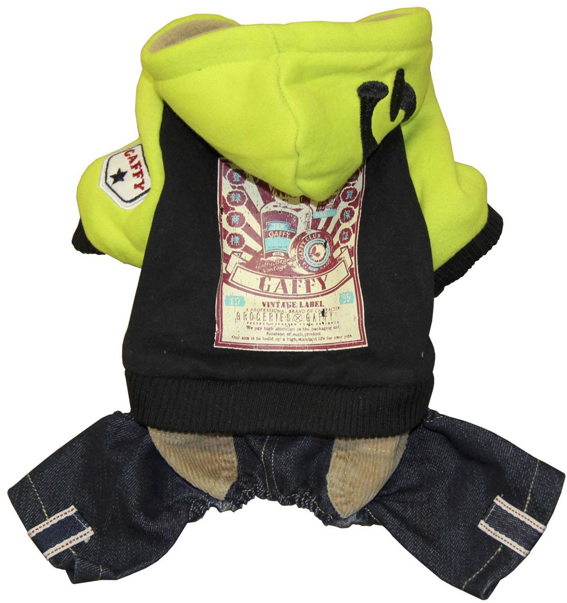 Костюм для собак Gaffy Pet Vintage Store, унисекс, цвет: салатовый, черный. Размер XS костюм для собак gaffy pet baseball унисекс цвет оранжевый синий размер s