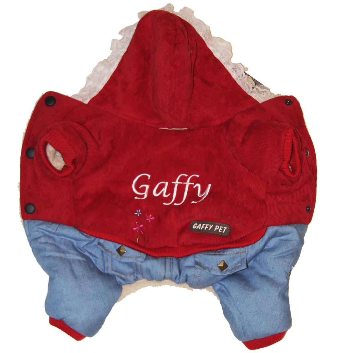 """Комбинезон для собак Gaffy Pet """"Flower"""", зимний, для девочки, цвет: красный, голубой. Размер M"""