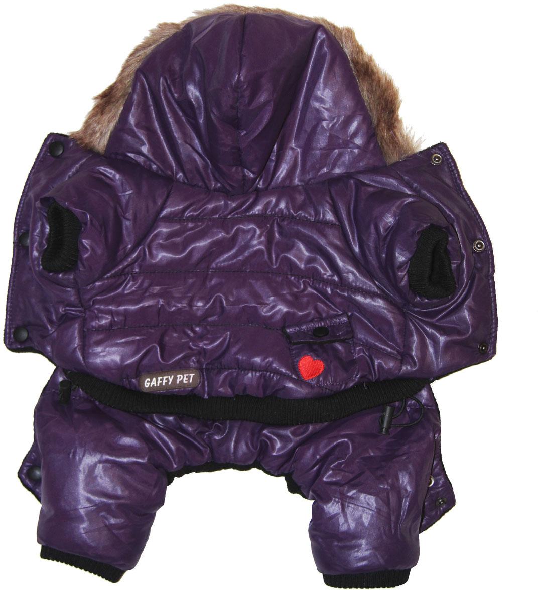 Комбинезон для собак Gaffy Pet Heart, зимний, мальчика, цвет: фиолетовый. Размер XS