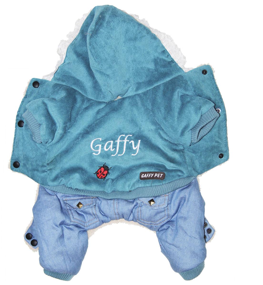 """Комбинезон для собак Gaffy Pet """"Ladybird"""", зимний, для мальчика, цвет: голубой. Размер XS"""