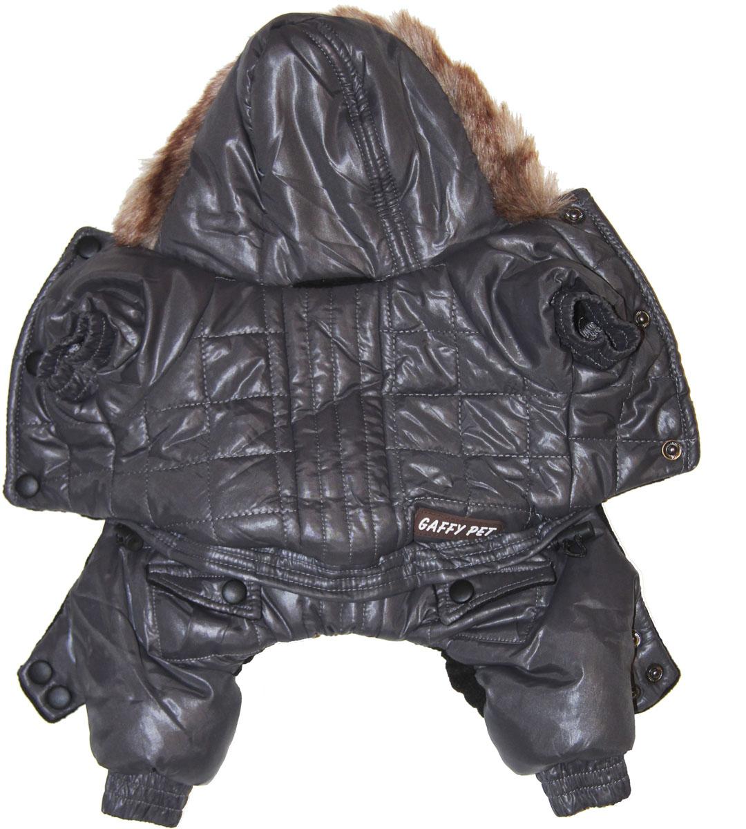"""Комбинезон для собак Gaffy Pet """"Charcoal"""", зимний, для мальчика, цвет: черный. Размер XS"""
