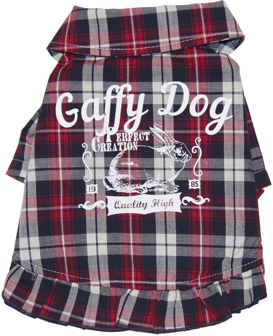 Рубашка для собак Gaffy Pet Cute Plaid, унисекс, цвет: красный, черный. Размер S