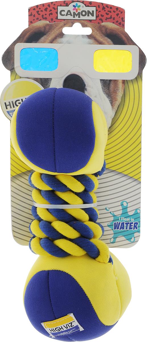 Игрушка для собак Camon HighViz. Гантель с веревкой, с пищалкой, длина 22 см игрушка для собак camon рыбка с пищалкой цвет белый красный 10 х 6 х 6 3 см