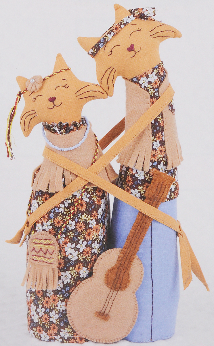 """Набор для создания игрушки Miadolla """"Коты-обнимашки хиппи"""", высота 29 см"""