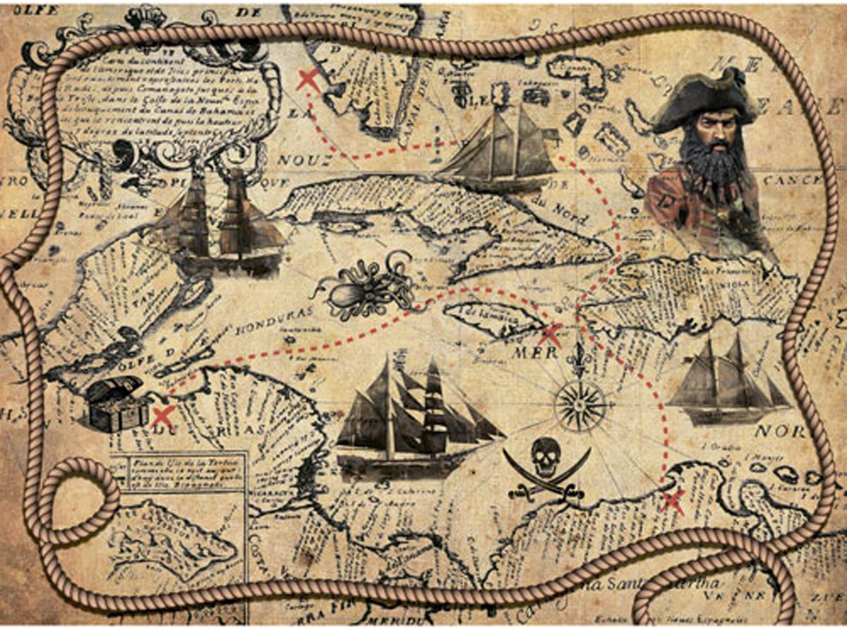 Рисовая бумага для декупажа Craft Premier, A3, 25г/м, Пиратская карта рисовая бумага для декупажа craft premier шебби розы a3