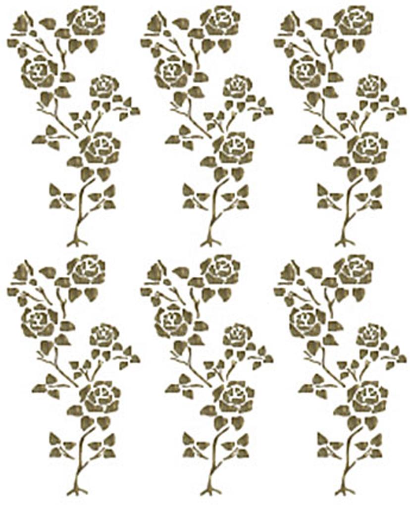 """Трансфер с глиттером по ткани """"Куст роз"""", 17 см х 25 см. SKT-1130"""