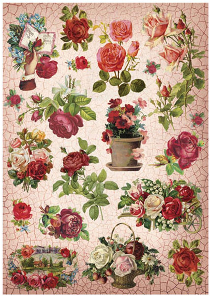 Рисовая бумага для декупажа Craft Premier Кракелюровые розы, A3 рисовая бумага для декупажа craft premier пин ап телеграмма a3