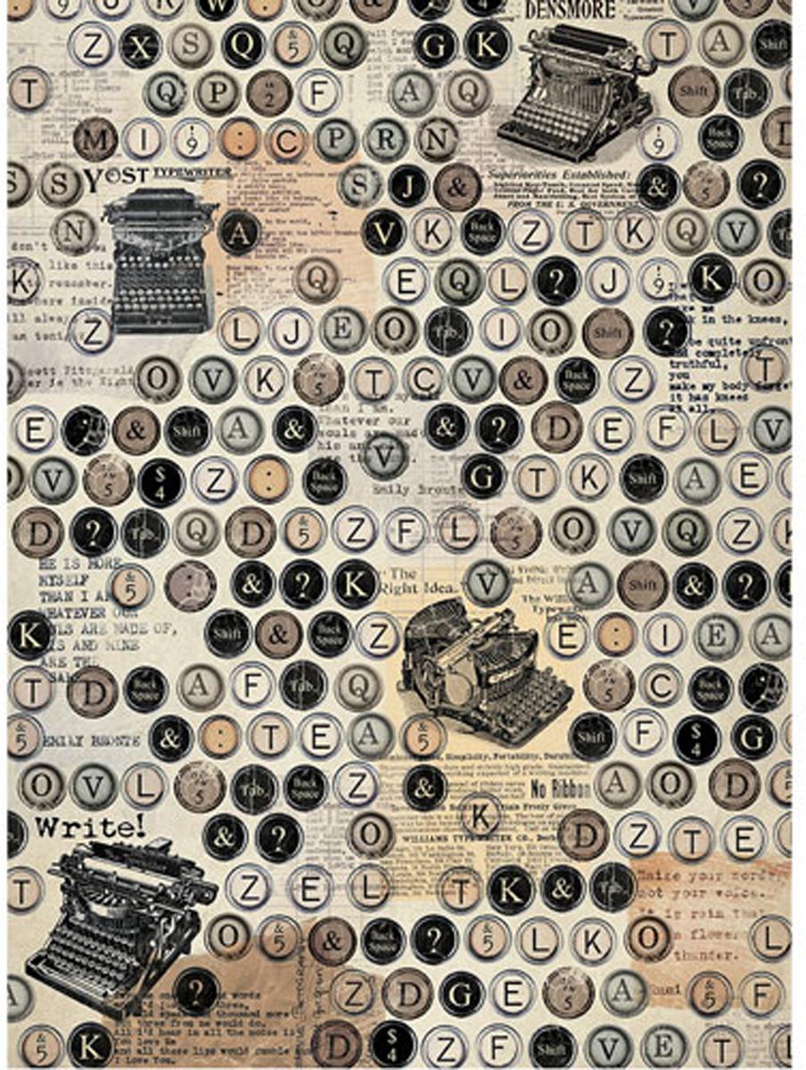 Рисовая бумага для декупажа Craft Premier Печатные машинки, 28,2 см х 38,4 см рисовая бумага для декупажа craft premier шебби розы a3