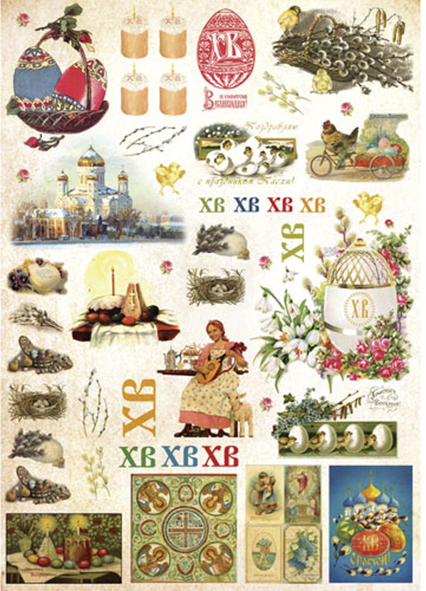 Рисовая бумага для декупажа Craft Premier, 28,2х38,4см, 25г/м, Пасха - русская1 рисовая бумага для декупажа craft premier шебби розы a3