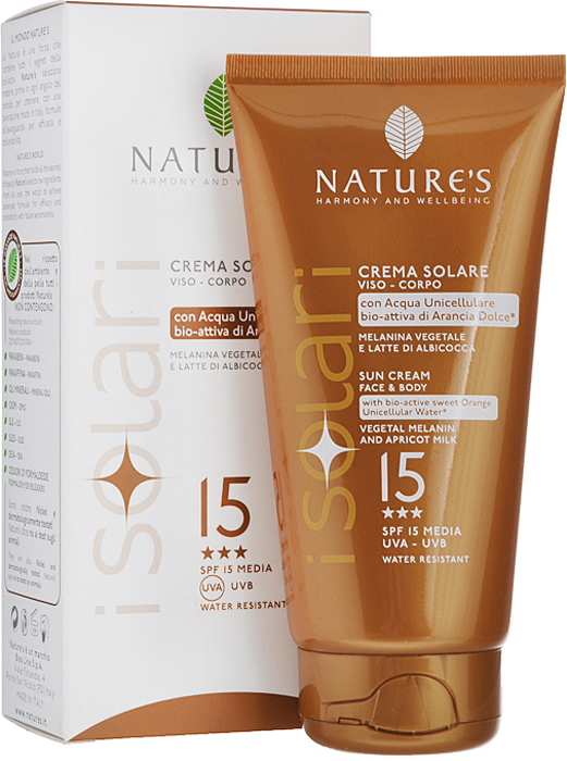 Natures Крем от солнца iSolari, SPF 15, 150 мл60041662Крем от солнца Natures iSolari идеален для уже загорелой кожи или кожи, которая легко воспринимает солнце. Предотвращает появление ожогов, замедляет старение кожи и сохраняет эластичность. Растительный меланин обеспечивает ровный загар, а абрикосовое молочко оказывает интенсивное смягчающее действие. Прошел дерматологические тесты.