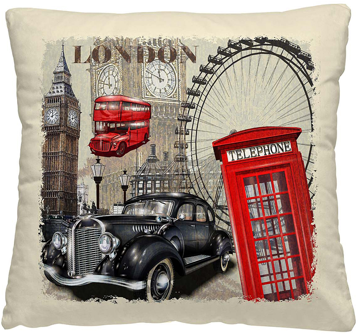 Подушка декоративная Волшебная ночь Лондон, 40х40 см подушка декоративная волшебная ночь колибри 40х40 см