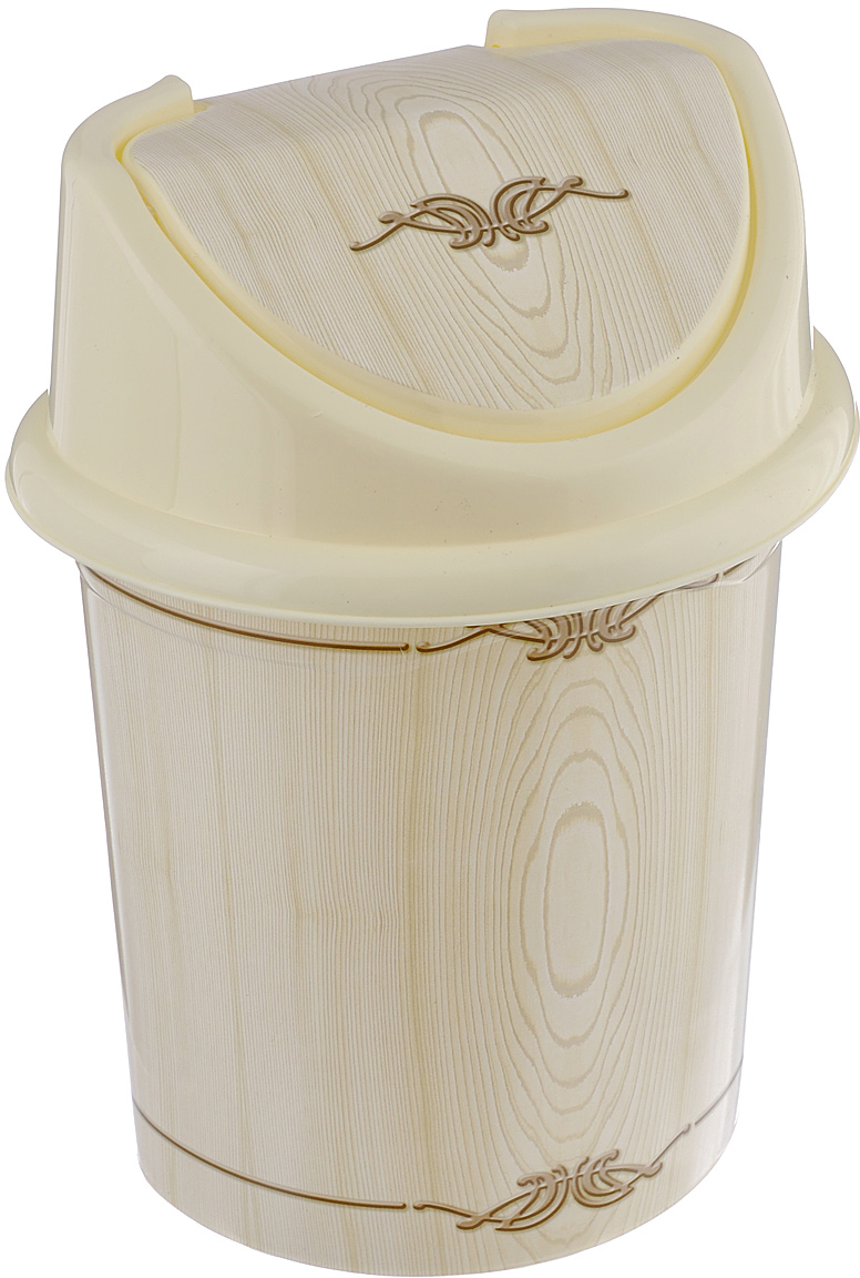Контейнер для мусора Violet Беленый дуб, цвет: слоновая кость, коричневый, 8 л контейнер для мусора violet дерево цвет коричневый желтый 4 л